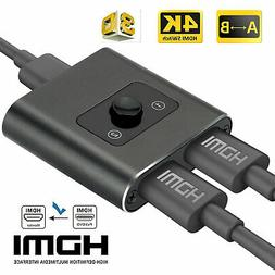 1080P 4K 3D HDMI Cable TV Splitter 2 In 1 Out Hub Switch Ada