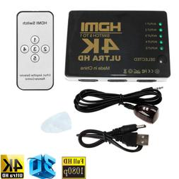 5 in 1 out 4K HDMI Switch Hub Splitter TV Switcher Box for H