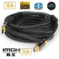 4K HDMI V2.0 Cable 28AWG Braided HDMI Cord  For UHD TV, Blu-