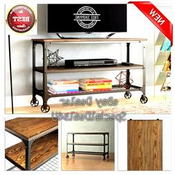 Industrial Rustic TV Stand Smart 4K Entertainment Center Far
