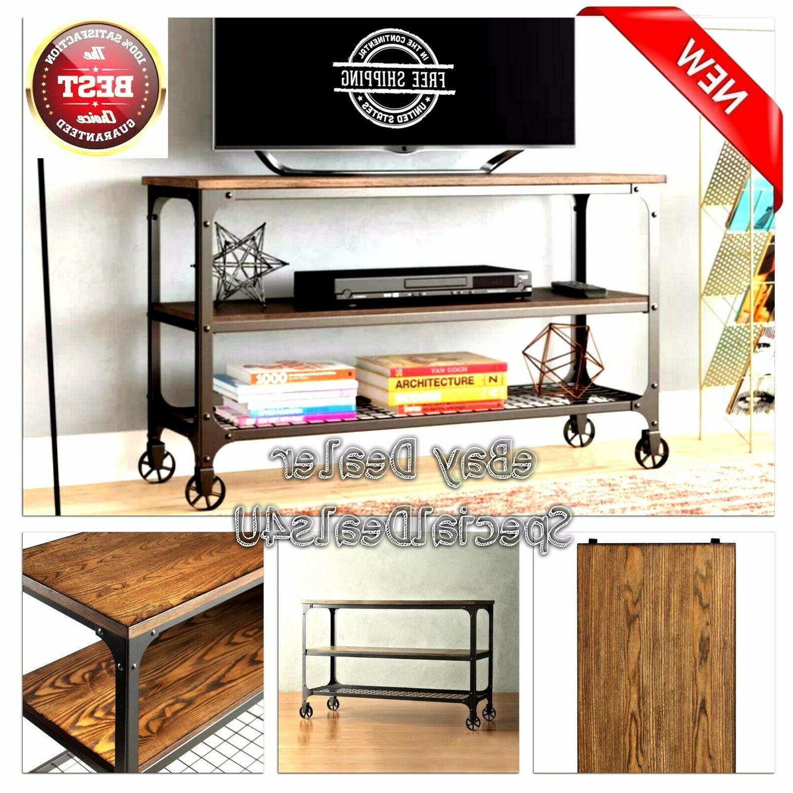 industrial rustic tv stand smart 4k entertainment